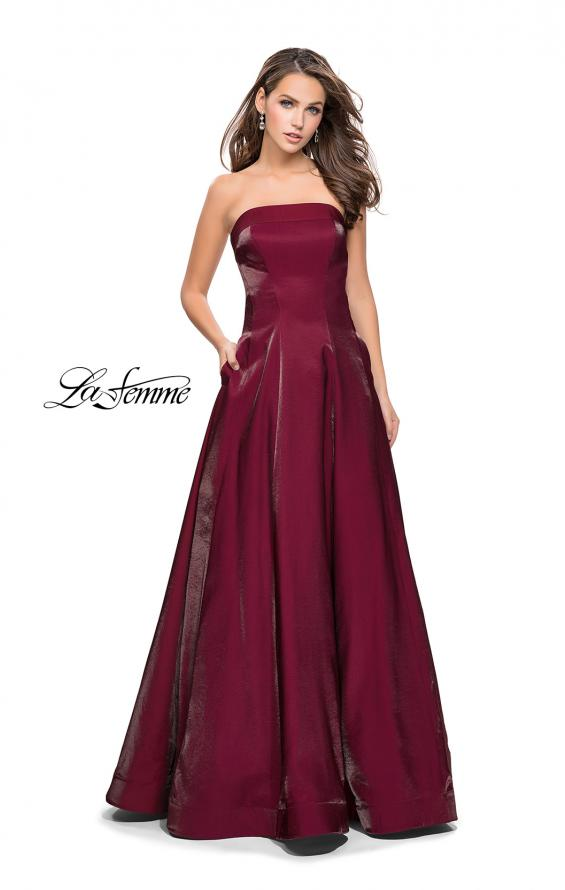 Picture of: Long Strapless Two-Tone Satin Ball Gown with Pockets in Burgundy, Style: 25638, Detail Picture 2