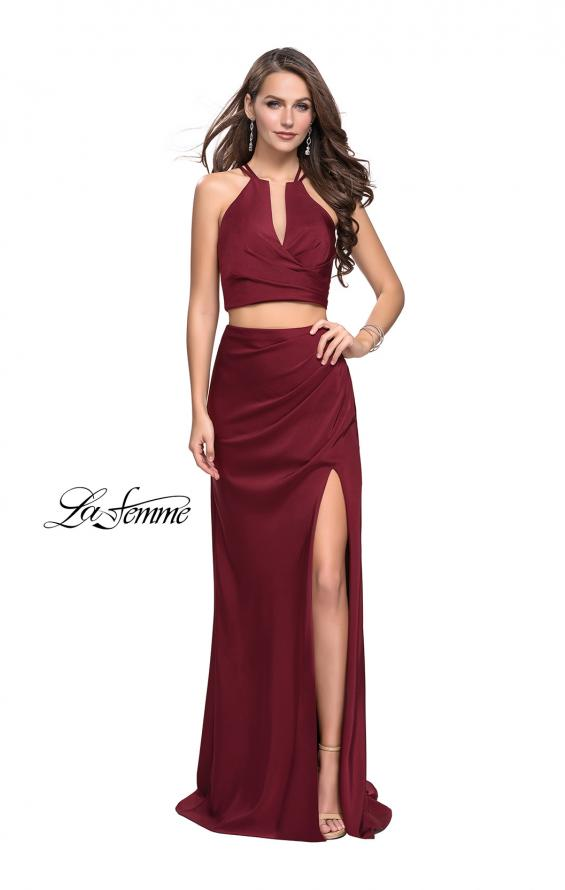 Picture of: Two Piece Jersey Prom Dress with Wrap Style Ruching, Style: 25731, Detail Picture 2