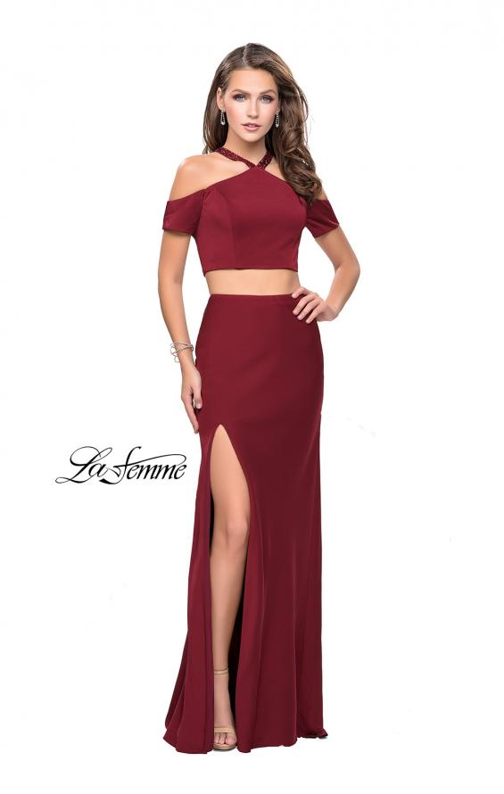 Picture of: Two Piece Long Prom Dress with Beaded Halter Top in Burgundy, Style: 25846, Detail Picture 2