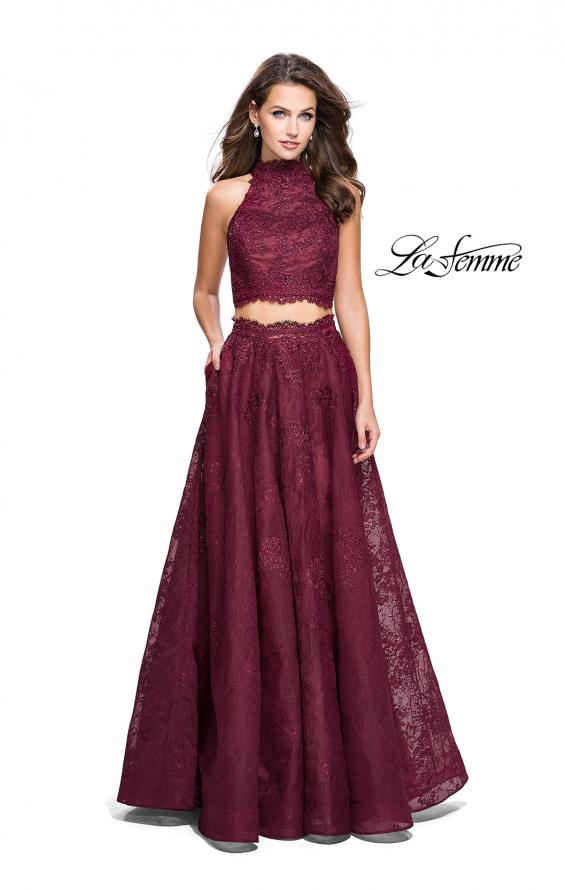 Picture of: Long Lace A-line Two Piece Prom Dress with Cut Outs in Burgundy, Style: 26103, Detail Picture 2