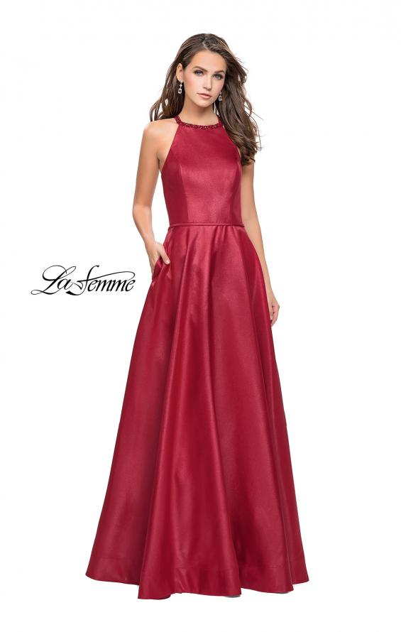 Picture of: Long A-line Beaded Mikado Prom Dress with Pockets in Burgundy, Style: 26162, Detail Picture 2