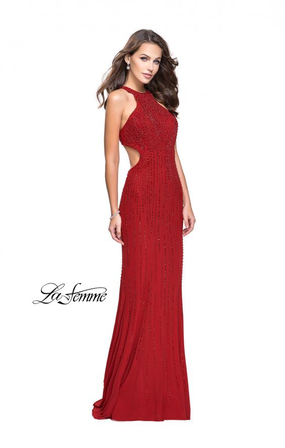Picture of: Metallic Beaded Long Prom Dress with High Neck in Burgundy, Style: 26182, Detail Picture 2