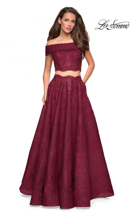 Picture of: Two Piece Off the Shoulder Lace Prom Dress, Style: 27028, Detail Picture 2