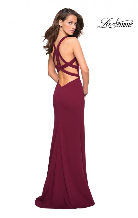 Picture of: Long Jersey Prom Dress With Exposed Back Zipper, Style: 27031, Detail Picture 2
