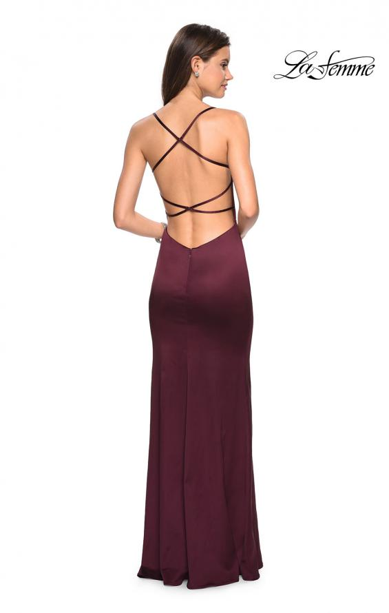 Picture of: Form Fitting Satin Dress with Slit and Strappy Back, Style: 27758, Detail Picture 2