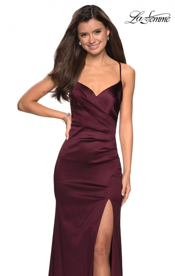 Picture of: Form Fitting Satin Prom Dress with Ruching in Burgundy, Style: 27782, Detail Picture 2