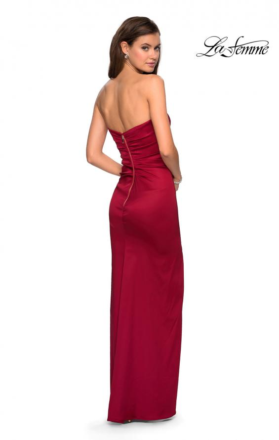 Picture of: Strapless Form Fitting Satin Dress with Side Leg Slit in Burgundy, Style: 27787, Detail Picture 2