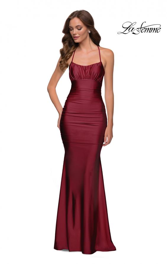 Picture of: On Trend Jersey Long Dress with Ruching on Bodice in Burgundy, Style 29873, Detail Picture 2