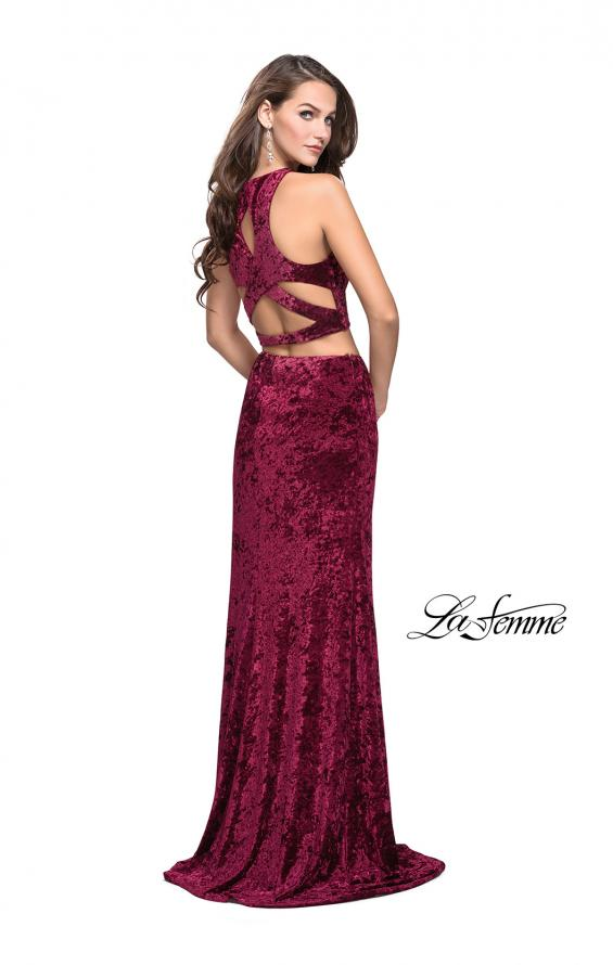 Picture of: Crush Velvet Two Piece Prom Dress with Slit in Burgundy, Style: 2543, Detail Picture 3