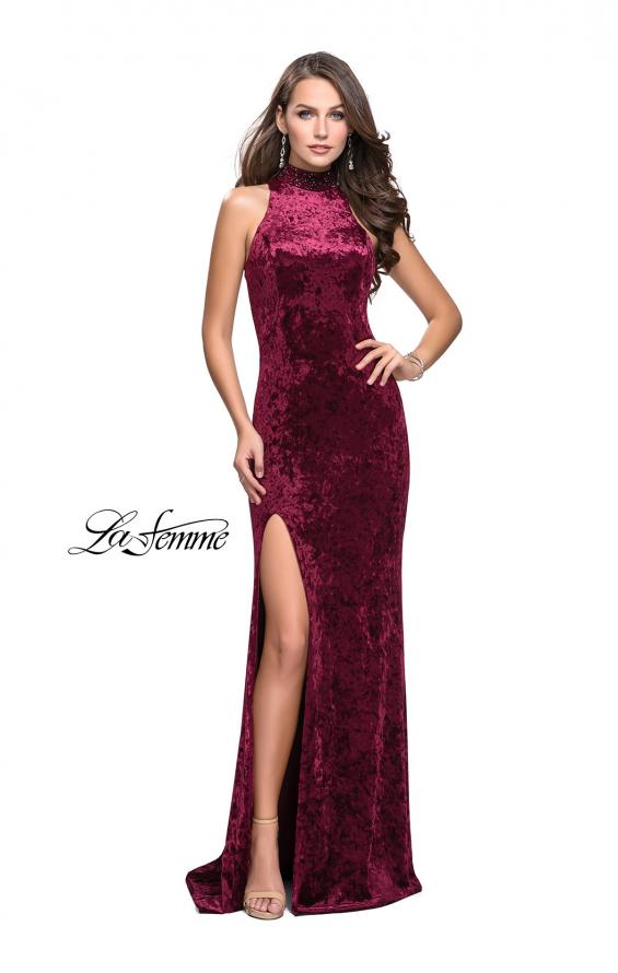 Picture of: Long Crushed Velvet Prom Dress with Beaded Choker, Style: 25783, Detail Picture 3