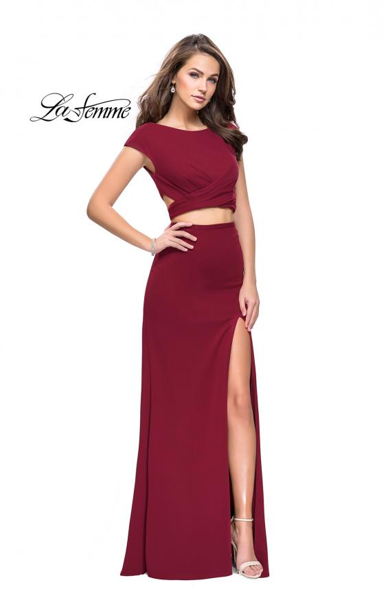 Picture of: Two Piece Wrap Jersey Prom Dress with Short Sleeves in Burgundy, Style: 25815, Detail Picture 3
