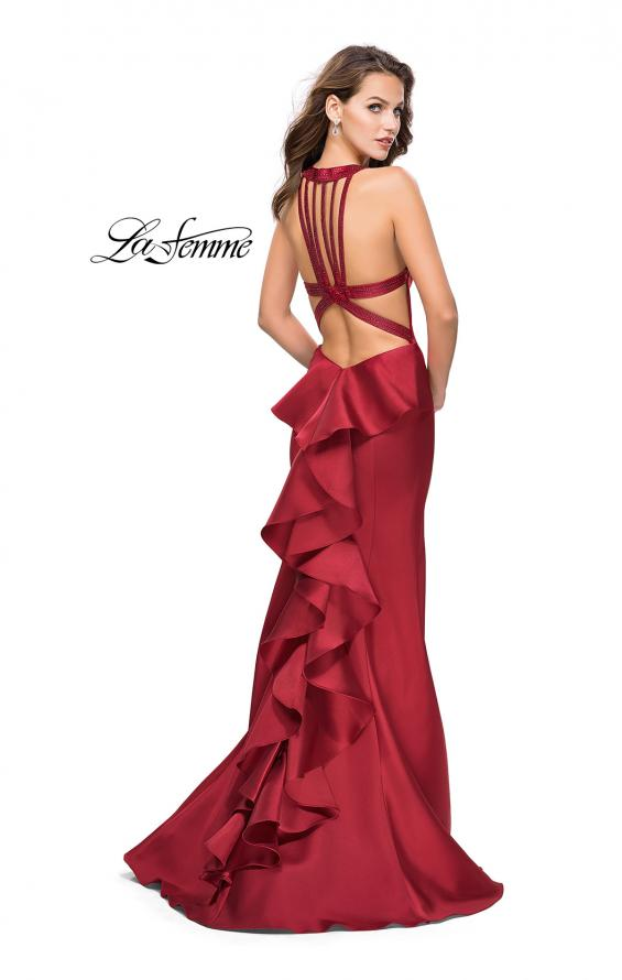 Picture of: Mikado Mermaid Dress with Embellished High Neckline in Burgundy, Style: 25838, Detail Picture 3