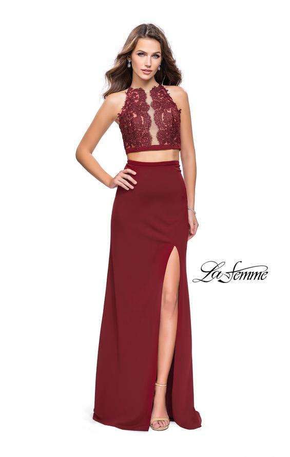 Picture of: Two Piece Prom Dress with Lace Bodice and Beading in Burgundy, Style: 25919, Detail Picture 3