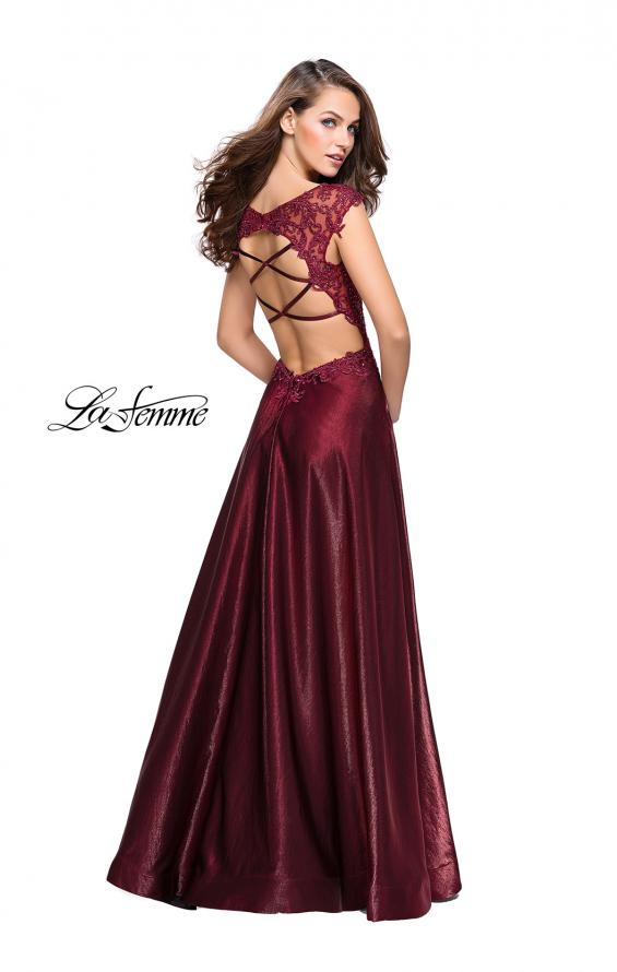 Picture of: A-Line Dress with Satin Skirt and Beaded Lace Bodice in Burgundy, Style: 25973, Detail Picture 3