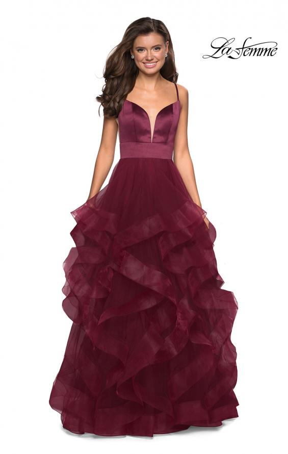 Picture of: Tulle A Line Dress with Plunging Sweetheart Neckline in Burgundy, Style: 27024, Detail Picture 3