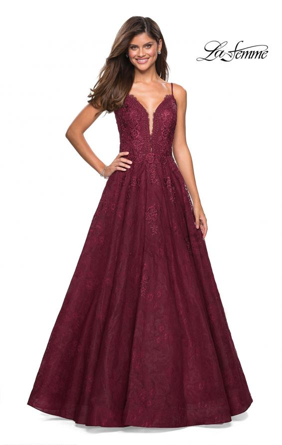 Picture of: Lace Detail Long A Line Prom Dress with Open Back in Burgundy, Style: 27030, Detail Picture 3