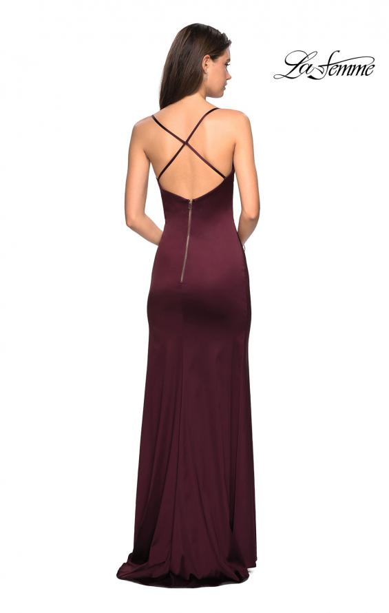 Picture of: Form Fitting Satin Prom Dress with Ruching in Burgundy, Style: 27782, Detail Picture 3