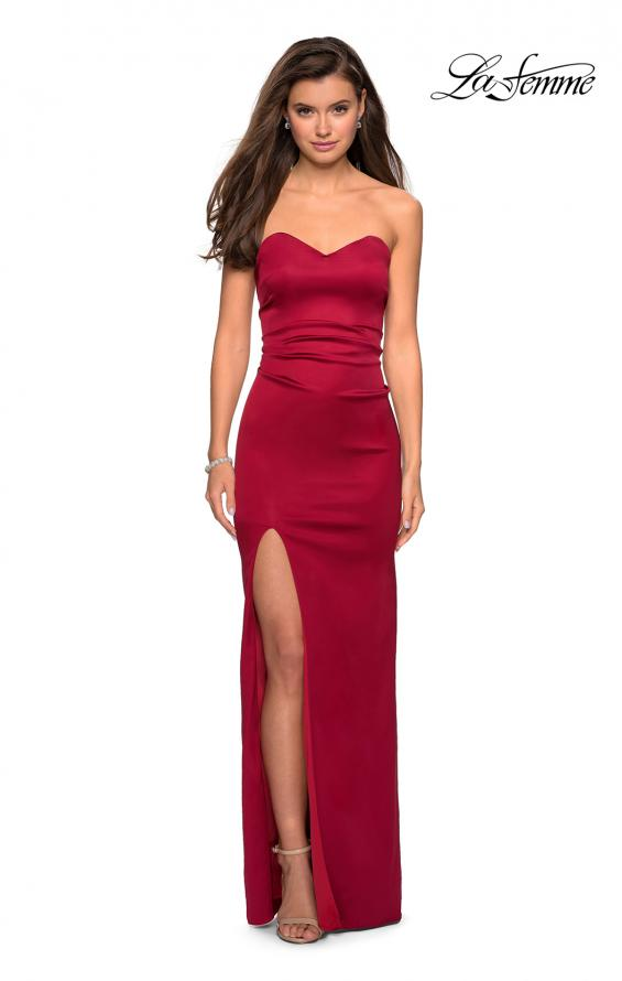 Picture of: Strapless Form Fitting Satin Dress with Side Leg Slit in Burgundy, Style: 27787, Detail Picture 3