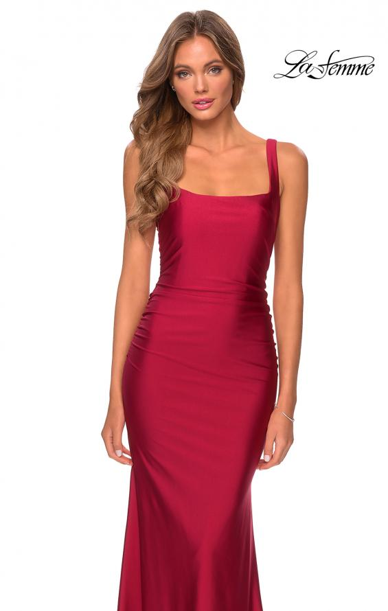 Picture of: Long Jersey Prom Dress with Full V-Shaped Back in Burgundy, Style: 28634, Detail Picture 3