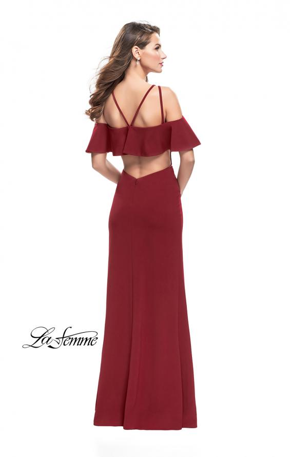 Picture of: Long Jersey Prom Dress with Off the Shoulder Ruffle Detail, Style: 25556, Detail Picture 4