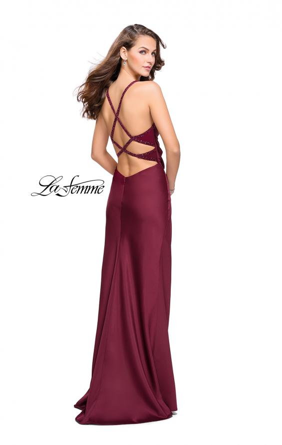 Picture of: Satin Prom Dress with Ruching and Open Strappy Back in Burgundy, Style: 26036, Detail Picture 2