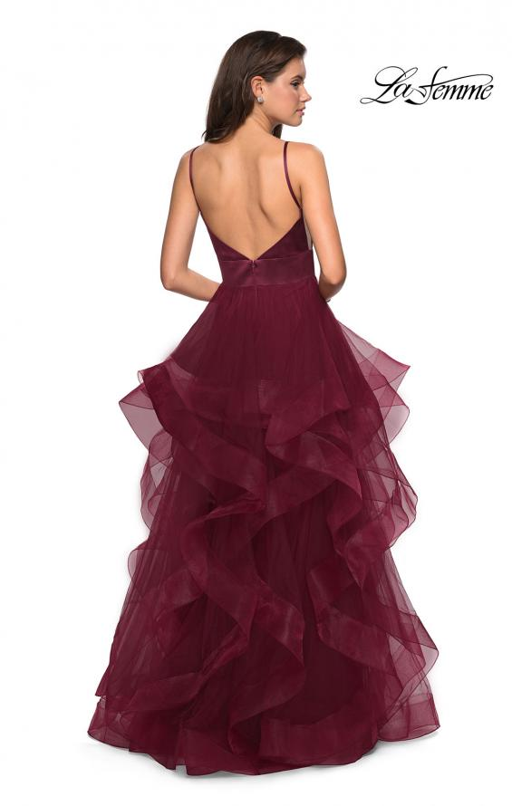 Picture of: Tulle A Line Dress with Plunging Sweetheart Neckline in Burgundy, Style: 27024, Detail Picture 4