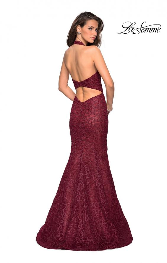 Picture of: Metallic Lace Halter Long Prom Dress with Open Back in Burgundy, Style: 27228, Detail Picture 4