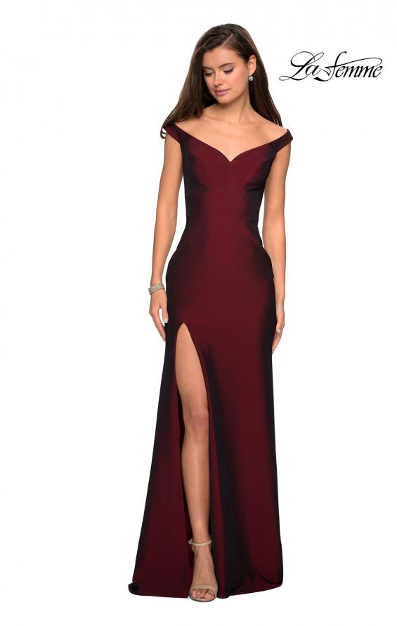 Picture of: Elegant Off the Shoulder Dress with Side Leg Slit in Burgundy, Style: 27587, Detail Picture 4