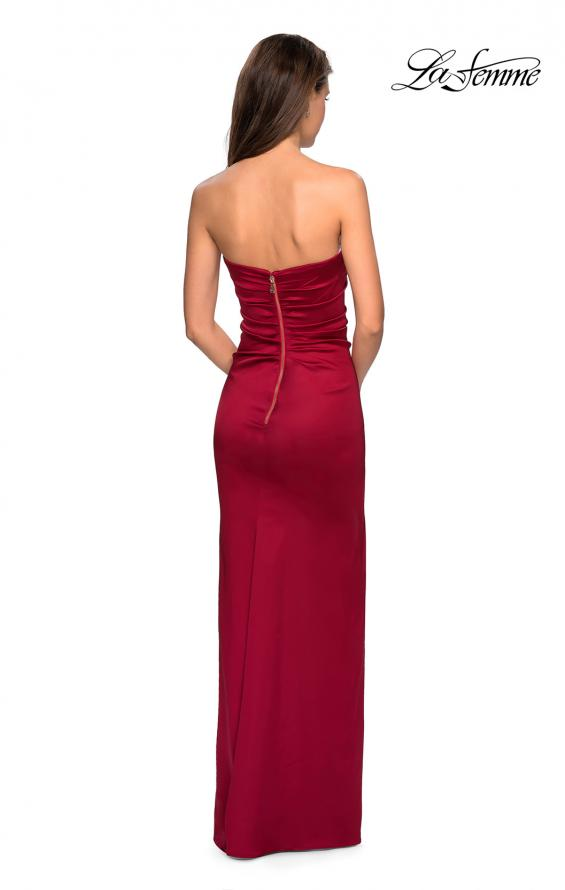 Picture of: Strapless Form Fitting Satin Dress with Side Leg Slit in Burgundy, Style: 27787, Detail Picture 4