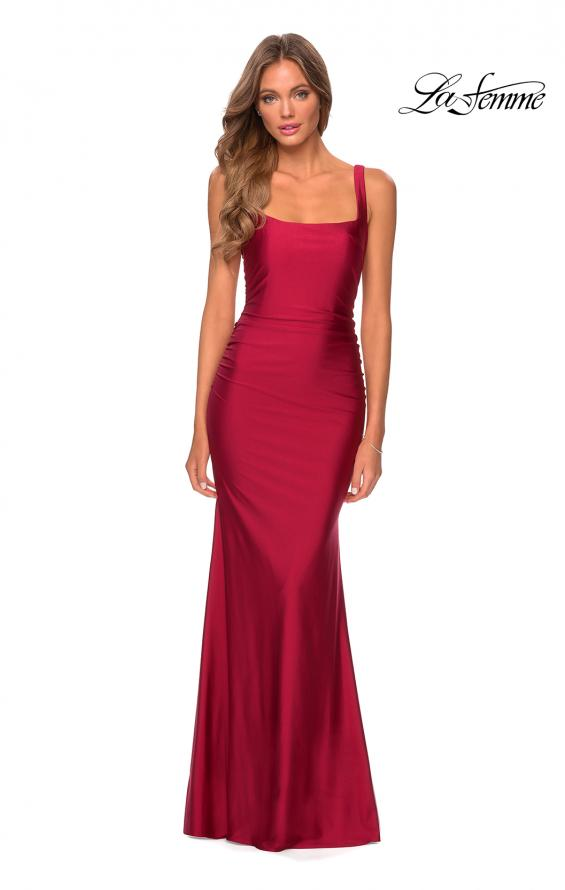 Picture of: Long Jersey Prom Dress with Full V-Shaped Back in Burgundy, Style: 28634, Detail Picture 4