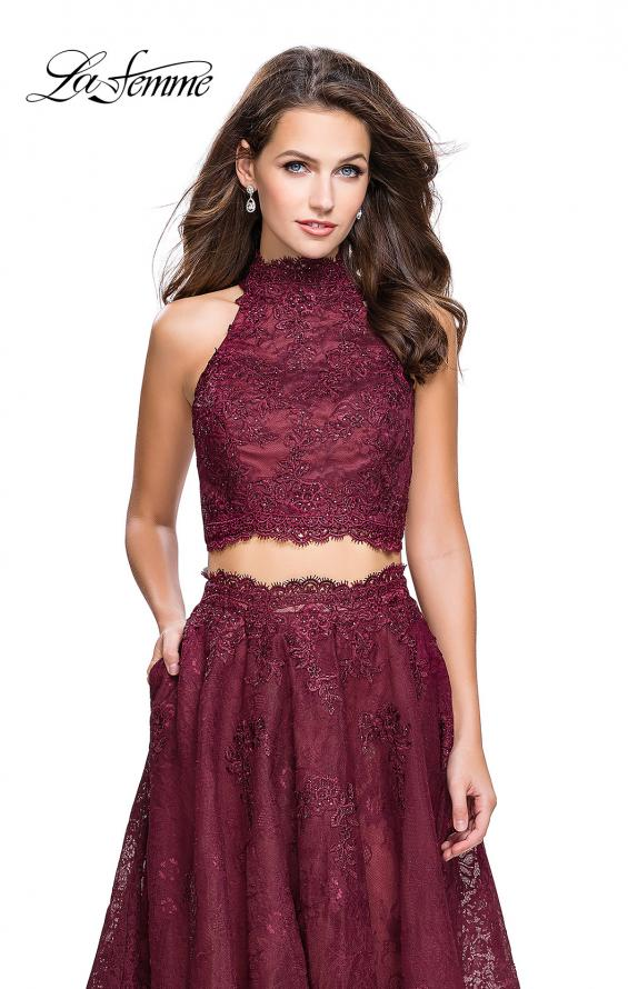 Picture of: Long Lace A-line Two Piece Prom Dress with Cut Outs in Burgundy, Style: 26103, Detail Picture 5