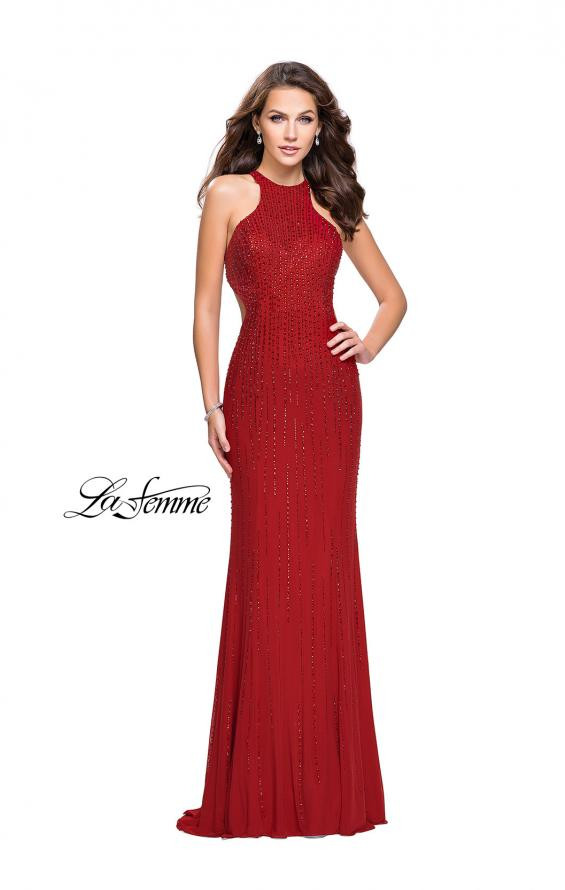 Picture of: Metallic Beaded Long Prom Dress with High Neck in Burgundy, Style: 26182, Detail Picture 5
