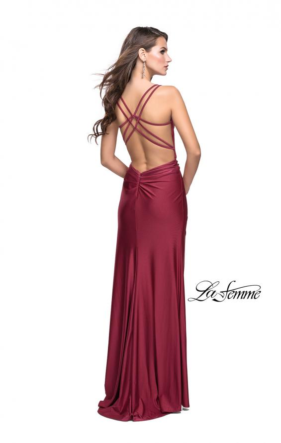 Picture of: Long Jersey Prom Dress with Ruching Side Wrap Detail, Style: 26317, Detail Picture 5