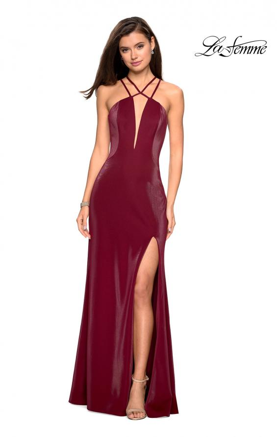 Picture of: Long Prom Dress with High Neckline and Cut Outs in Burgundy, Style: 26963, Detail Picture 5