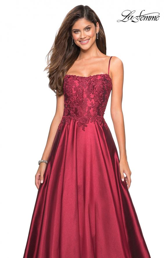 Picture of: Long Mikado Gown with Lace Bust and Open Back in Burgundy, Style: 27222, Detail Picture 5