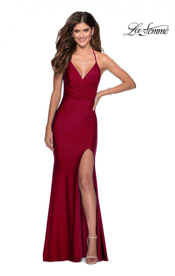 Picture of: Long Chiffon Prom Dress with Unique Lace Up Back in Burgundy, Style 28552, Detail Picture 5