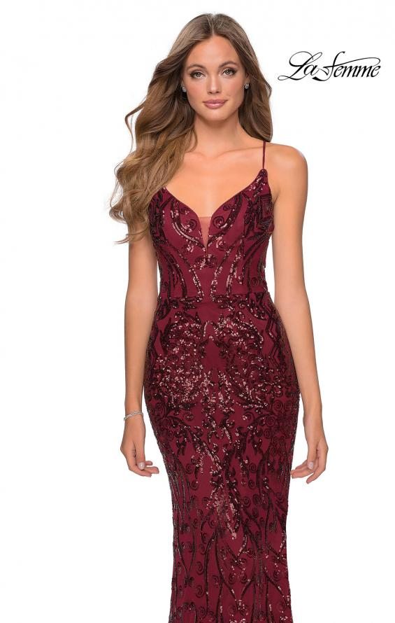 Picture of: Long Prom Dress with Intricate Sequin Lace Design in Burgundy, Style: 28828, Detail Picture 5