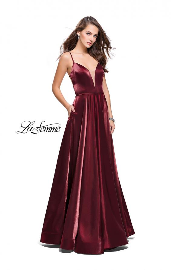 Picture of: Satin A-line Gown with Deep V Sweetheart Neckline in Burgundy, Style: 25670, Detail Picture 6
