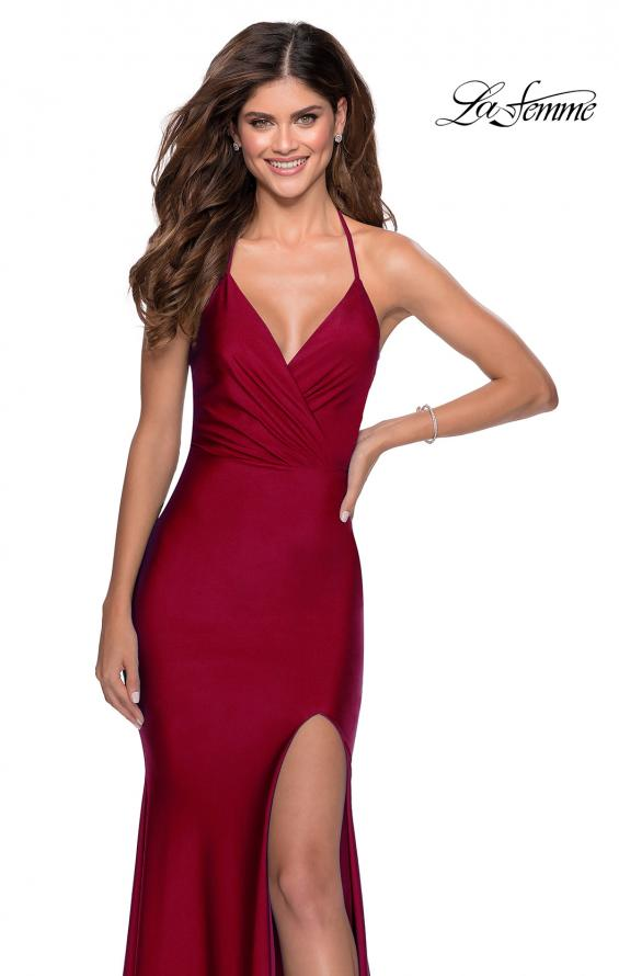 Picture of: Long Chiffon Prom Dress with Unique Lace Up Back in Burgundy, Style 28552, Detail Picture 6
