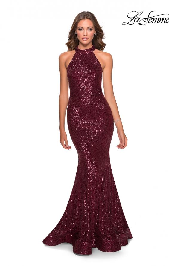 Picture of: Long Sequin Gown with High Neckline and Lace Back in Burgundy, Style: 28612, Detail Picture 7