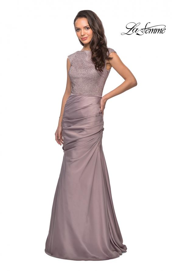 Picture of: Floor Length Gown with Beading and Cap Sleeves in Champagne, Style: 25471, Main Picture