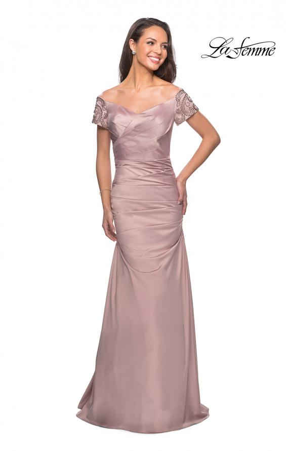 Picture of: Satin Off the Shoulder Dress with Beaded Sleeves in Champagne, Style: 25996, Main Picture