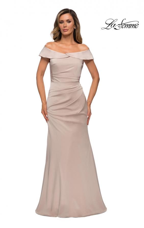 Picture of: Off the Shoulder Satin Evening Gown with Ruching in Champagne, Style: 28110, Main Picture