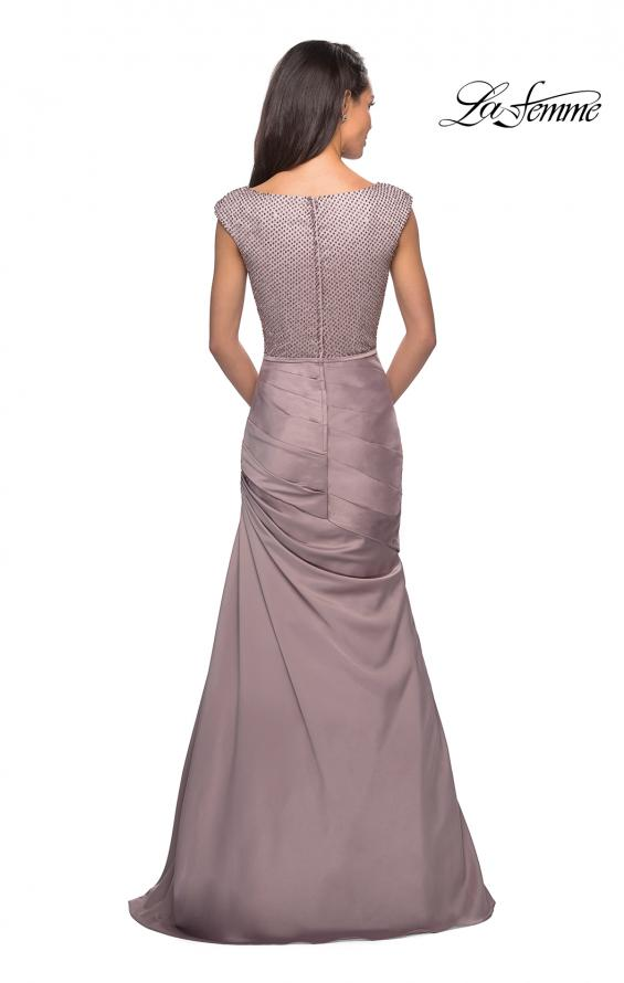 Picture of: Floor Length Gown with Beading and Cap Sleeves in Champagne, Style: 25471, Back Picture