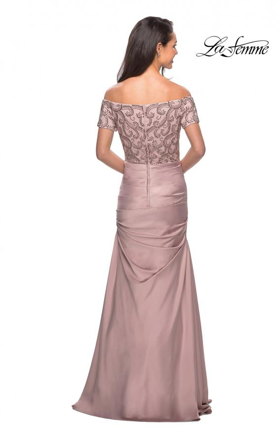Picture of: Satin Off the Shoulder Dress with Beaded Sleeves in Champagne, Style: 25996, Back Picture