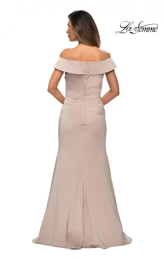 Picture of: Off the Shoulder Satin Evening Gown with Ruching in Champagne, Style: 28110, Back Picture