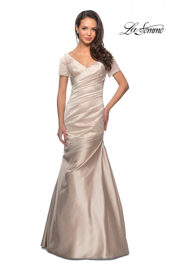 Picture of: Long Satin Gown with Elegant Ruching, Style: 26947, Detail Picture 2