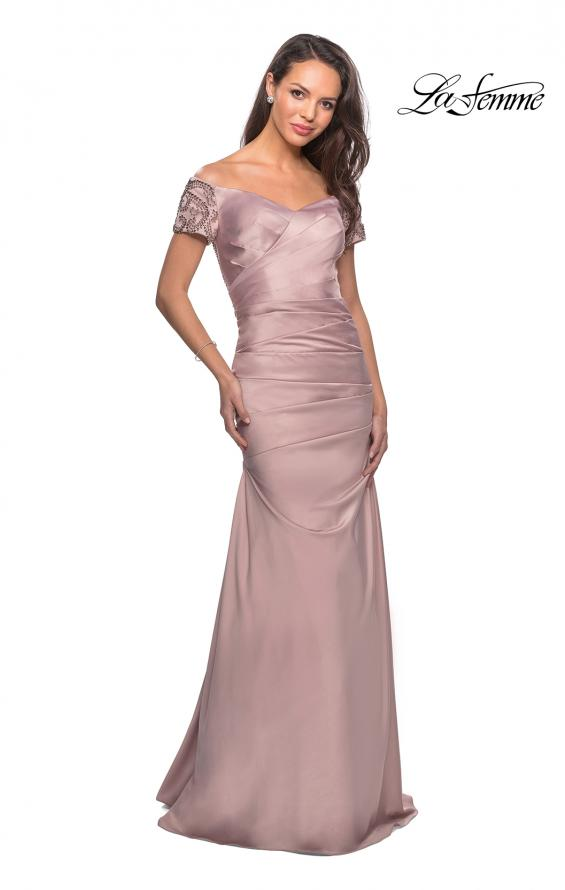 Picture of: Satin Off the Shoulder Dress with Beaded Sleeves in Champagne, Style: 25996, Detail Picture 5