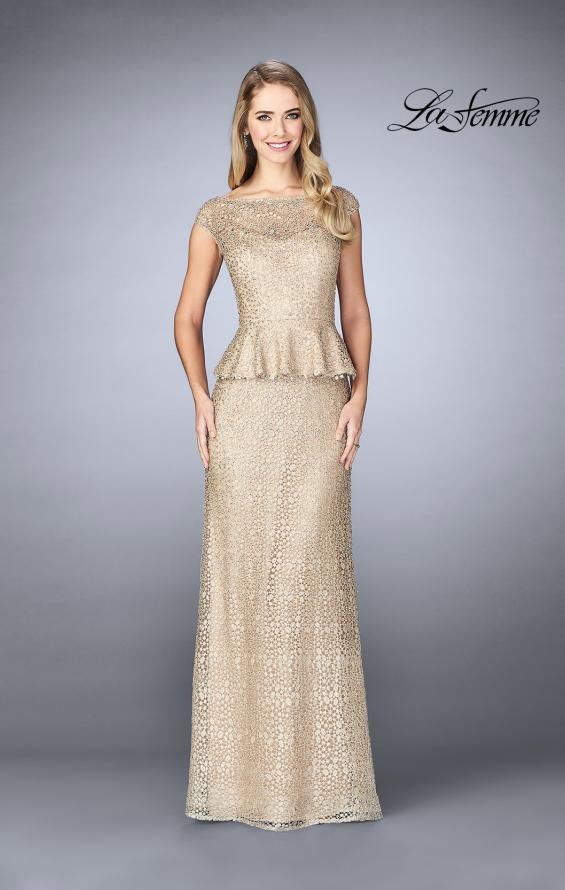 Picture of: Lace A-line Gown With Sheer Neckline and Peplum in Champagne, Style: 24896, Detail Picture 1