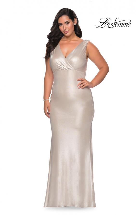 Picture of: Long Plus Size Dress in Metallic Jersey in Champagne, Style: 28857, Main Picture